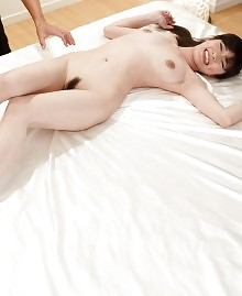 Licking her feet and pleasing